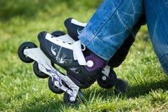 Schlittschuhläuferstillstehen Stockfoto