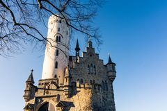 Schloss利希滕斯泰因城堡德国亚丁乌特姆博格Swabian A 免版税图库摄影