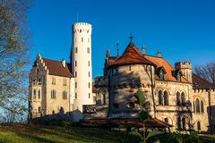 Schloss利希滕斯泰因城堡德国亚丁乌特姆博格Swabian A 库存照片