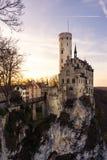 Schloss利希滕斯泰因城堡德国亚丁乌特姆博格Swabian A 免版税库存图片