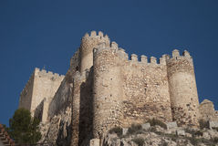 Schloss in Almanza, Spanien stockfotos