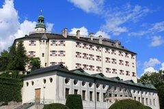 Schloss Ambras, Castle on the hill in Innsbruck. Schloss Ambras (Ambras Castle) on the hill with beautiful garden in Innsbruck, Austria Stock Image