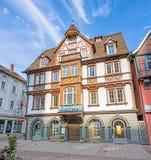 Schloss Apotheke Heidenheim an der Brenz, pedestrian area. Heidenheim an der Brenz, Germany - May 26, 2016: Castles pharmacy (Schloss Apotheke) in the pedestrian stock photos