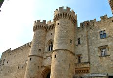 Schloss Art Architecture-Ziegelsteine Phodes Griechenland Stockbilder