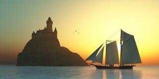Schloss auf dem Meer Stockfotos
