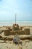 Schloss auf dem Strand Stockfoto