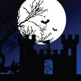 Schloss auf einem Mondscheinfarbvektor Lizenzfreie Stockfotografie