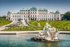 Schloss Belvedere, Vienna, Austria. Beautiful view of famous Schloss Belvedere, built by Johann Lukas von Hildebrandt as a summer residence for Prince Eugene of royalty free stock photography