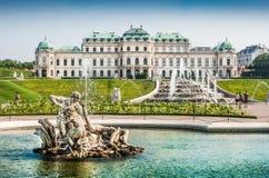 Schloss Belvedere, Vienna, Austria. Beautiful view of famous Schloss Belvedere, built by Johann Lukas von Hildebrandt as a summer residence for Prince Eugene of royalty free stock image
