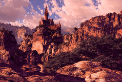 Schloss in den Bergen Stockfotos