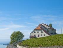 Schloss in den Lavaux Weinbergen, die Schweiz Stockfotos