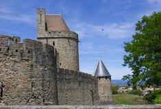 Schloss der alten Stadt von Carcassonne, Frankreich Stockbild