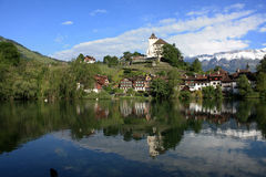 Schloss in der Schweiz Stockbild