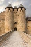 Schloss der Zählungen Carcassonne frankreich stockbilder