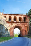 Schloss Erbaut Bruecke,卢森堡接近的看法  库存照片