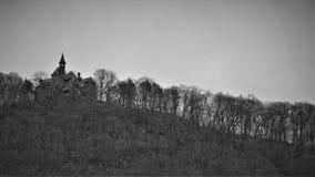 Schloss-Felsen sitzt den Hügel, der durch spärlichen Winterwald umgeben wird stockbild