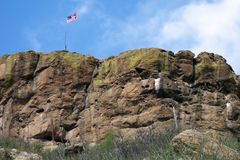 Schloss-Felsennahaufnahme Stockfotografie
