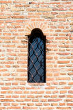 Schloss-Fenster auf Backsteinmauer Lizenzfreie Stockbilder