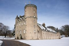 Schloss Fraser im Schnee Stockbild