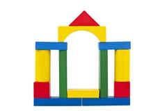 Schloss gebildet von den hölzernen Spielzeugblöcken Stockbilder
