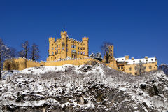 Schloss Hohenschwangau in the snow Stock Images