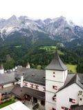 Schloss Hohenwerfen. Burg Hohenwerfen in Werfen, Austria.  Photo taken from a tower of the fortress Stock Photo