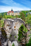 Schloss Hruba Skala, böhmische Paradiesregion, Tschechische Republik Stockfotografie