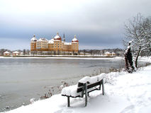 Schloss im Winter Stockfoto