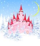 Schloss im Winterwald lizenzfreie abbildung