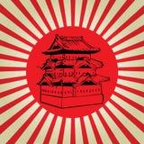 Schloss Japans Osaka auf Sonnenflagge Stockbild