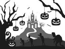 Schloss, Kürbis, Zombie, Baum, Schlägerhalloween-Schattenbild Schwarzweiss lizenzfreie abbildung