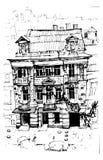 Schloss-Landschaft Mehr in meinem Portefeuille Schlossgebäude Hand gezeichnete Skizzeillustration Lizenzfreie Stockfotos