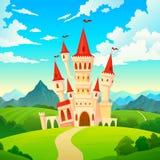 Schloss-Landschaft Schlosshügel-Waldgrün-Gebirgskarikatur der magischen Türme des Palastmärchenkönigreiches mittelalterliche Vill vektor abbildung