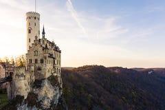 Schloss Lichtenstein slottTyskland Baden-Wuerttemberg Swabian A Arkivfoto