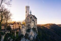 Schloss Lichtenstein slottTyskland Baden-Wuerttemberg Swabian A Royaltyfri Foto