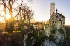 Schloss Lichtenstein slottTyskland Baden-Wuerttemberg Swabian A Arkivbilder