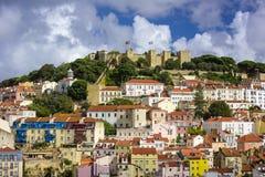Schloss Lissabons, Portugal lizenzfreies stockbild