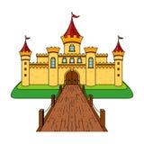 Schloss mit einer Brücke Schloss-Karikatur-Zeichnungs-Illustration lizenzfreie abbildung