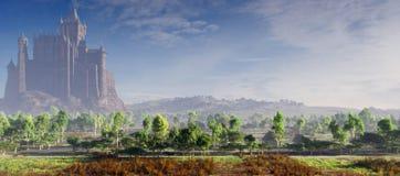 Schloss-morgens Nebel Stockfoto