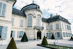 Schloss Niederweiden in Austria, blue filter. Beautiful Schloss Niederweiden in Austria. Architectural scene. Travel destination. Detail photo. Blue photo filter stock image
