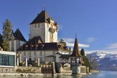 Schloss Oberhofen on Thun Lake, Switzerland. Oberhofen castle at the lake Thun, Switzerland Stock Images