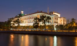 Schloss oder Ingenieure St- Michael` s Schloss Mikhailovsky ` Schloss nachts, St Petersburg, Russland Lizenzfreies Stockfoto