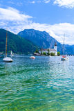 Schloss Ort. Or the Ort Castle located on the Traunsee lake in Gmunden, Austria Stock Image