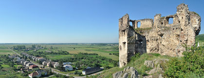 Schloss ruiniert Panorama Lizenzfreie Stockfotos