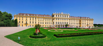 Schloss Schönbrunn, Vienna, Austria. A picture of Schloss Schönbrunn, a palace in Vienna, Austria. The gardens are in the foreground Royalty Free Stock Images
