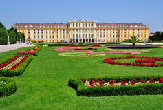 Schloss Schönbrunn, Vienna, Austria. A picture of Schloss Schönbrunn, a palace in Vienna, Austria. The gardens are in the foreground Stock Photos