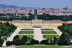 Schloss Schönbrunn, Vienna, Austria. A picture of Schloss Schönbrunn, a palace in Vienna, Austria. The gardens are in the foreground. This picture was shot Royalty Free Stock Image