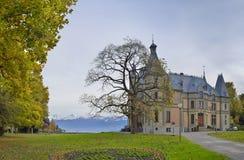 Schloss Schadau och trädgård omkring, Thun, Schweiz Arkivbild