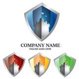 Schloss-Schild Logo Concept für Sicherheit, Stärke, Energie und Schutz stock abbildung