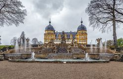 Schloss Seehof, Germany. Palace Schloss Seehof was built from 1684 to 1695 near Bamberg, Germany. View with cascade stock photos